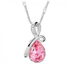 """Halsband """"Waterdrops"""" i kristall och silverplätering -Rosa"""