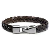 Armband med tvinnade läderremmar och knäppning i rostfritt stål -Brunt