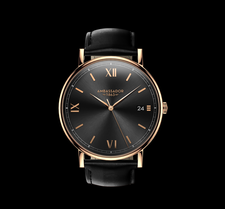 AMBASSADOR -Heritage 1863- Black Leather Strap