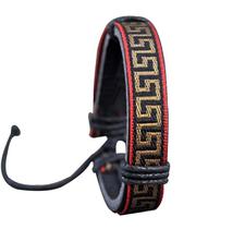 Läderarmband med Rött och Guldfärgat Etniskt mönster