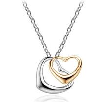 """Halsband """"Hjärta x 2"""" i 925 Sterling Silverplätering"""