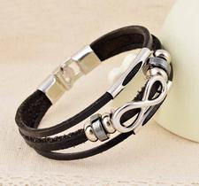 "Läderarmband ""Infinity"" -Svart"