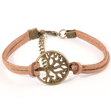 "Läderarmband ""Tree of Life"" -Brun"