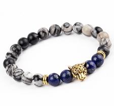 "Armband ""Buddha -Lion"" -Grå/Blå/Guld"