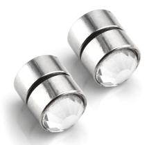 Örhänge i olika storlekar med Vit Kristall i rosfritt stål och med Magnet -Unisex -Du behöver inget hål i örat!