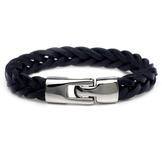 Armband med tvinnade läderremmar och knäppning i rostfritt stål -Svart