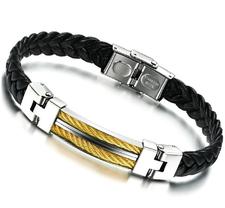 """Armband """"Wire"""" -guldfärgad och i rostfritt stål och PU läder"""