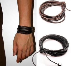 Dubbla Läderarmband i svart och brunt läder