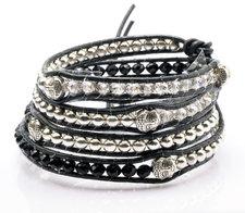 Armband Buddha med kristaller, metalldetaljer och lädersnörning -Svart