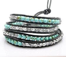 Armband med kristaller, metalldetaljer och lädersnörning -Turkost