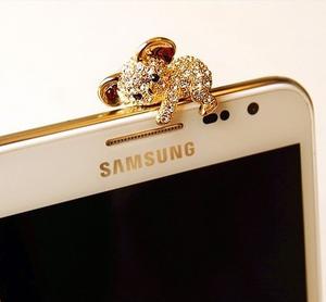 Dustproof -Guldpläterad Kristallkoala för t.ex. iphone och Samsungtelefoner