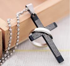 Halsband Lords Prayer Cross med omfamnande ring