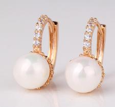 """Örhängen """"Pearl"""" med Cubic Zirconia och Vit pärla i 18 K Guldplätering"""