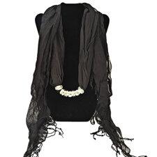 """Bomullsscarf i moderiktig modell med """"hänge"""" -Svart"""