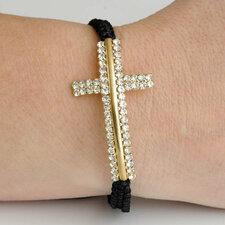"""Armband """"Cross"""" med guldfärgat kors och dubbla rader med kristaller"""