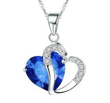 """Halsband """"Twin Hearts"""" med Cubic Zirconia och i  925 Sterling Silverplätering -Blå"""