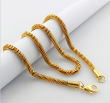 Halskedja i rostfritt stål med 18 K Guldplätering 2,0 mm -längd 45 cm