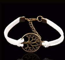 "Läderarmband ""Tree of Life"" -Vit"