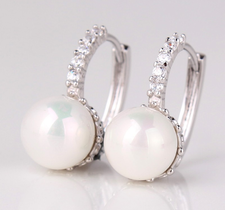 """Örhängen """"Pearl"""" med Cubic Zirconia och Vit pärla i 18 K Vit Guldplätering"""