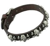"""Läderarmband """"Six Skulls"""" med metalldetaljer -Brunt"""