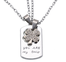 "Dubbelt Halsband ""You are my Only"" i Rostfritt stål"