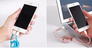 CAFELE -1 m utdragbar Laddningskabel för iphone och ipad med lightningkontakt