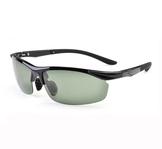 AOFLY Sunglasses -Bright black frame & Dark green lens