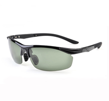 AOFLY Sunglasses -Bright black frame & Dark green lens