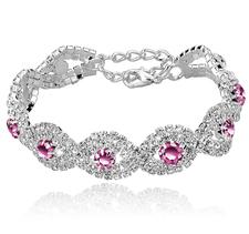 Armband med Cubic Zirconia och Austrian Crystals samt i 925 Sterling Silverplätering -Rosa stenar