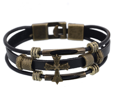 "Läderarmband ""Antique Cross"""
