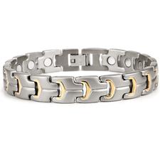 Magnetarmband i rostfritt stål och med 18 K guldplätering