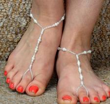 """Ankelkedja """"Pärlor på rad"""" i elastiskt band"""