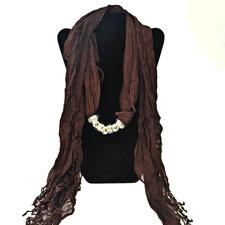 """Bomullsscarf i moderiktig modell med """"hänge"""" -Brun"""