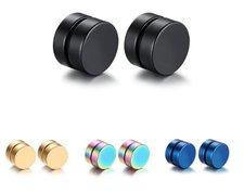 "Örhänge ""Magnetic Round"" i Magnetisk hematit -Unisex"