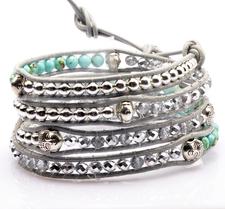 Armband Buddha med kristaller, metalldetaljer och lädersnörning -Silver/ Turkos