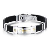 Armband i Silikon och rostfritt stål -Gold Cross