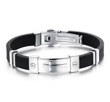 Armband i Silikon och rostfritt stål -Silver Cross