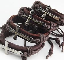"""Armband """"Cross"""" i Läder och rostfritt stål"""