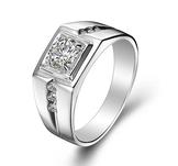 Stilren ring i herrmodell med en större och 6 mindre Cubic Zirconia i platinumplätering