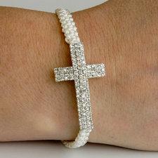 """Armband """"Cross"""" med kors av tre rader med kristaller"""