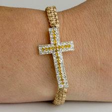 """Armband """"Cross"""" med kors av tre rader med Vita och Guldfärgade kristaller"""