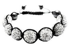 Shamballainspirerat Armband -Vita kristaller