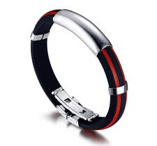 Armband i rostfritt stål och Silikon -Röd