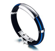 Armband i rostfritt stål och Silikon -Blå