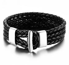 Läderarmband med låsning i rostfritt stål