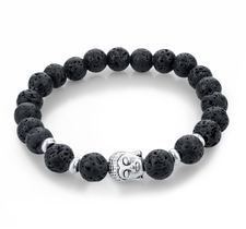 """Armband """"Buddha"""" -Svart Lava"""
