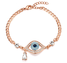 """Armband """"Evil Eye"""" med Austrian Crystals och i 18 K Ros Guldplätering"""