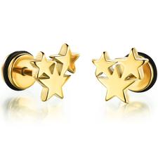 """Örhänge """"Gold Star"""" i Rostfritt stål med Guldplätering -Unisex"""