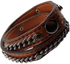 Läderarmband med vidhängande kedja i rostfritt stål