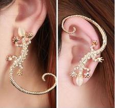 Örhänge Gekko i Guld eller Silverplätering och kristaller
